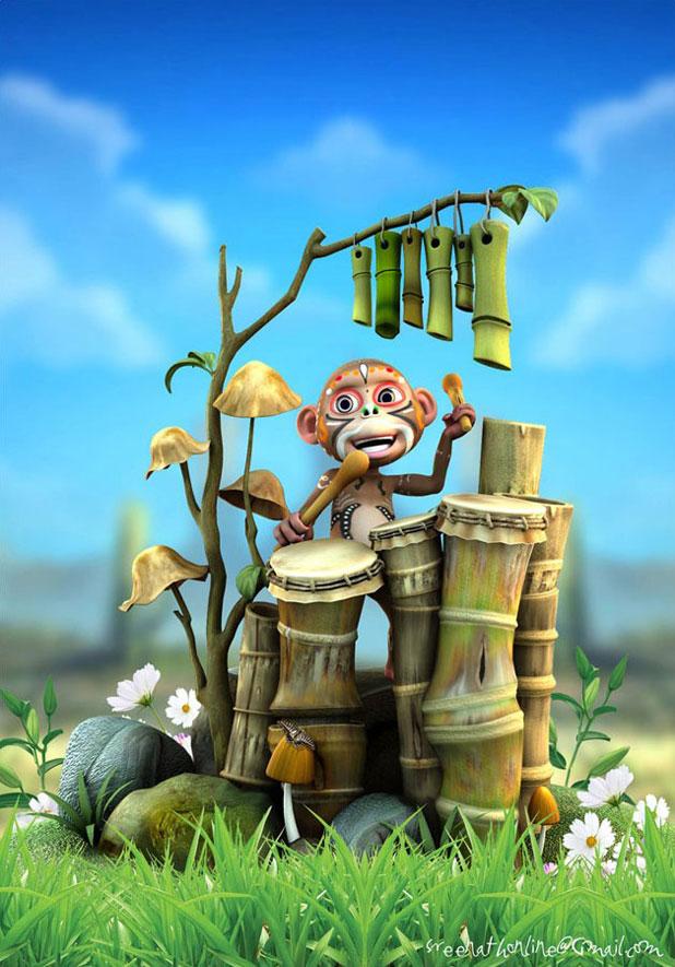 maya作品制作流程《敲竹鼓的野猴子》